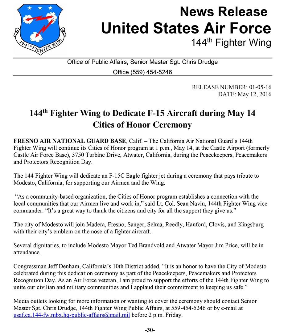 144th Fighter Wing to Dedicate F-15 Aircraft during May 14 Cities of Honor Ceremony